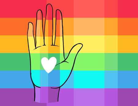 Rainbow colored open hand raised up. Gay Pride. LGBT concept. Realistic style vector colorful illustration of painted human palm. Sticker, patch, t-shirt print, logo design.