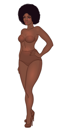 Curvy african american girl in underwear isolated on white.