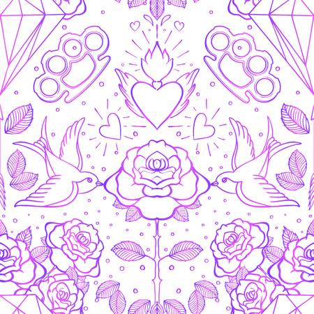Old school tattoo style seamless pattern.