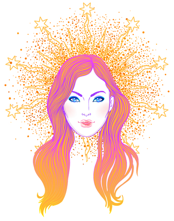 Madonna, Lady of Sorrow. Devotion to the Immaculate Heart of Blessed Virgin Mary, Queen of Heaven. Vector illustration isolated. Illustration