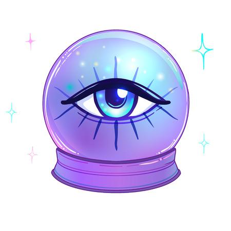Bola de cristal azul con todos los ojos que ven en el interior aislado en blanco. Ilustración de vector