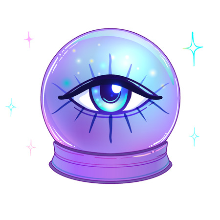 Blue crystal Ball with with all seeing eye inside isolated on white.