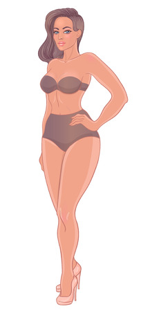 Curvy girl in beige underwear isolated on white. Vector illustration.