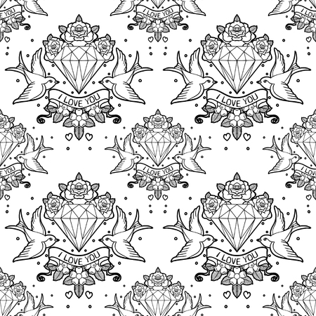 Old school tattoo style seamless pattern.