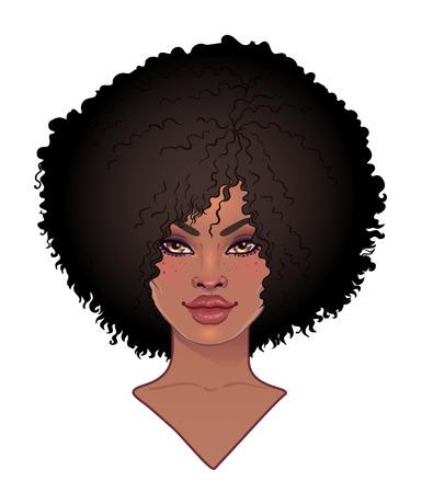 Hermosa mujer con cabello largo ondulado que fluye en el viento.