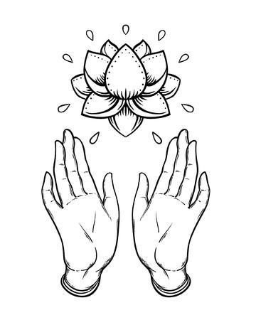 Las manos abiertas del Señor Buda sosteniendo la flor de loto. Ilustración de vector aislado de Mudra.