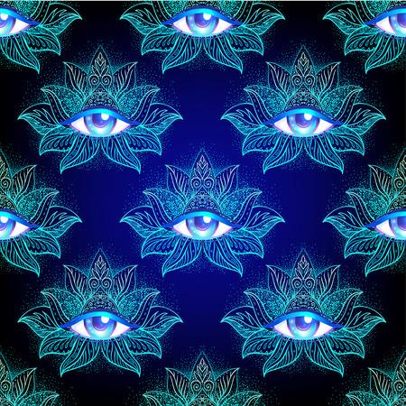 Fleur de lotus Symbole de la géométrie sacrée avec tous les yeux voyants dans des couleurs acides. Mystique, alchimie, concept occulte. Conception pour la couverture de la musique indépendante, l'impression de t-shirt, l'affiche psychédélique, le dépliant.