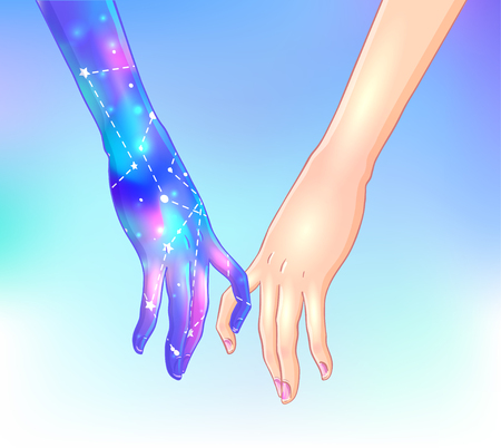 Two women holding hands isolated vector illustration. Illustration