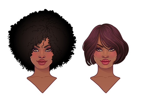 Two African American pretty girls. Vector Illustration of Black Woman with afro hairstyle and neck . Great for avatars. Ilustração
