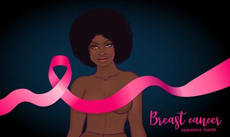Oktober: Breast Cancer Awareness Month, jährliche Kampagne zur Sensibilisierung für die Krankheit. Afroamerikanerin mit rosafarbenem Band des Krebsbewusstseins, Vektorillustrationsgesundheit, Medizin