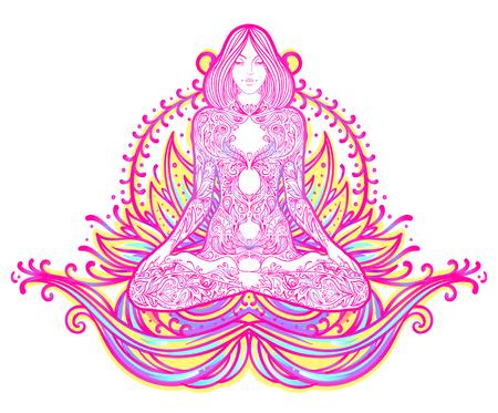 Chakra concept. Inner love, light and peace. Buddha silhouette in lotus position over colorful ornate mandala. Vector illustration isolated. Buddhism esoteric motifs. Tattoo, spiritual yoga. - Vector Ilustração