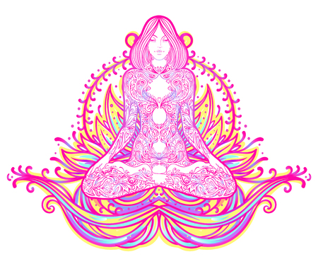 Chakra concept. Inner love, light and peace. Buddha silhouette in lotus position over colorful ornate mandala. Vector illustration isolated. Buddhism esoteric motifs. Tattoo, spiritual yoga. - Vector Illustration