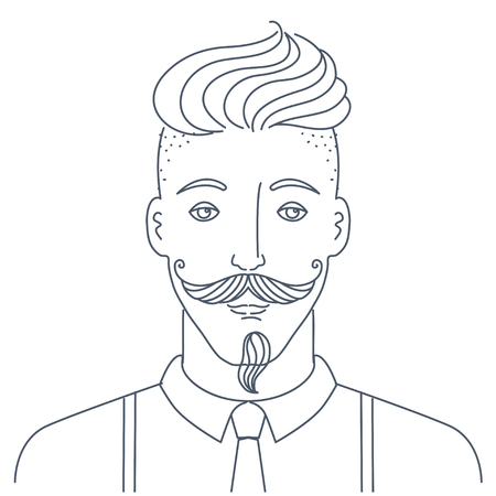 Simple style portrait of hipster man. Barber shop character concept. Illustration