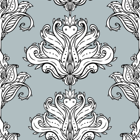 Floral paisley inspired Indian vector colorful ornate seamless pattern. Decorative style retro background, ornate design with repetition. Heraldic floral texture. Stock Vector - 124860434