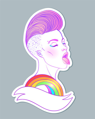 Portrait of a young pretty caucasian woman with short side shaved haircut showing rainbow tongue. LGBT concept. Vector illustration isolated on white. Hand drawn art of a lesbian girl.