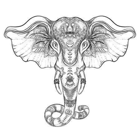 Bellissimo elefante in stile tribale disegnato a mano. Disegno del libro da colorare con motivi mandala boho, ornamenti. Origine etnica, arte spirituale, yoga. Dio indiano Ganesha, simbolo thailandese. Stampa t-shirt, poster