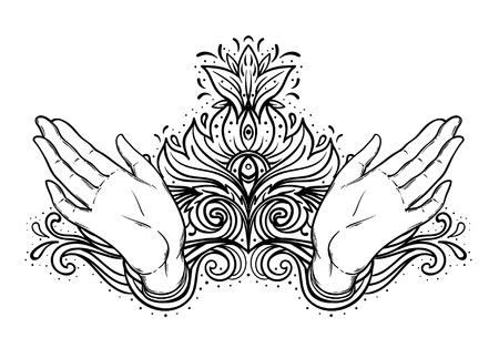 Female open hands over sacred geometry design elements. Alchemy, philosophy, spirituality symbols. Vintage vector illustration in vintage style isolated on white Illustration