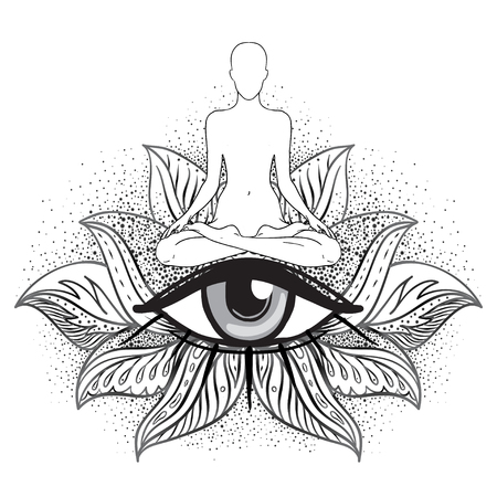 Chakra concept. Inner love, light and peace. Buddha silhouette in lotus position over ornate mandala. Vector illustration isolated on white. Buddhism esoteric motifs. Tattoo, spiritual yoga.