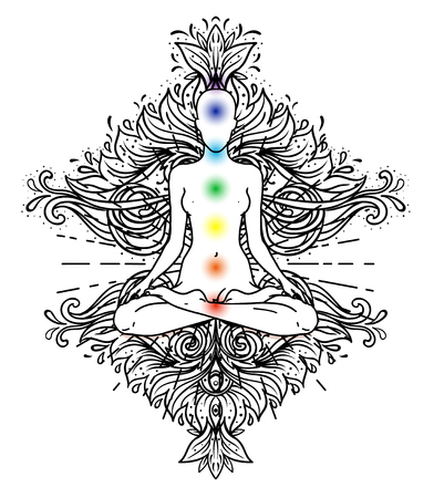 Chakra concept. Inner love, light and peace. Buddha silhouette in lotus position over colorful ornate mandala. Vector illustration isolated. Buddhism esoteric motifs. Tattoo, spiritual yoga. - Vector Çizim