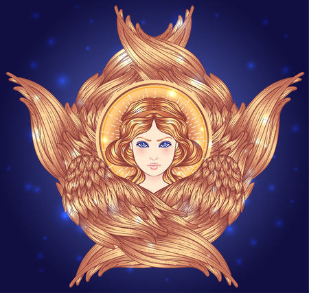 Seraph, six winged Angel. Isolated hand drawn vector illustration. Highest rank in Christian angelology. Trendy Vintage style element. Spirituality, occultism, alchemy, magic, love. Golden Halo.  イラスト・ベクター素材