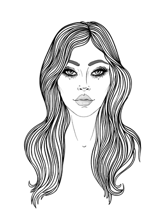 Young Caucasian woman with long hair Fashion vector illustration isolated on white. Face chart. Skincare, professional hairdressing, beauty salon concept. Coloring book for kids and adults. Ilustração