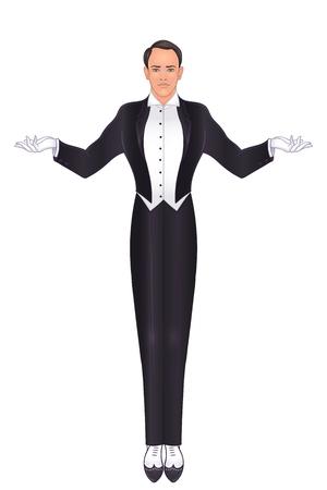 Art-Deco-Weinlese-Einladungsschablonendesign mit Illustration des Mannes. Toller Gatsby inspiriert. Muster und Rahmen. Retro-Party-Hintergrund (Stil der 20er Jahre). Vektor für Glamour-Event, Hochzeit oder Jazzparty Vektorgrafik