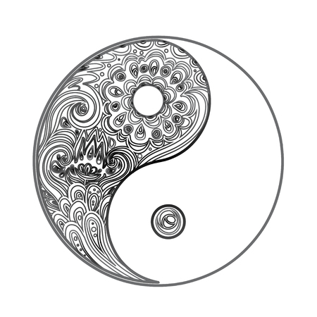 Yin and yang decorative symbol. Hand drawn vintage style design element. Alchemy, spirituality, occultism, textiles art. Vector illustration for t-shirt print isolated on white background.