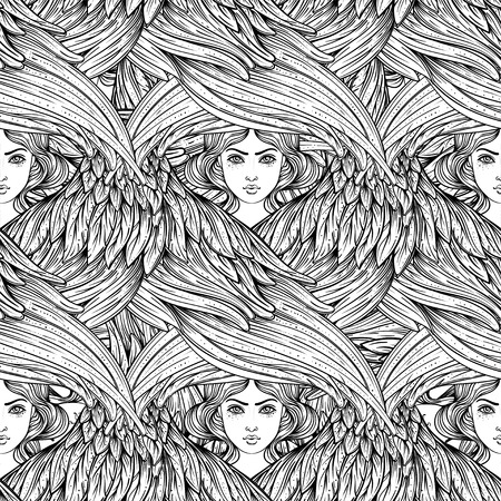 Seraph, six winged Angel. Seamless pattern. Color hand drawn vector illustration. Highest rank in Christian angelology. Trendy Vintage style element. Spirituality, occultism, alchemy, magic, love.  イラスト・ベクター素材