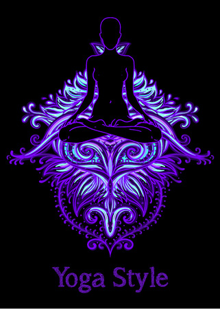 Chakra concept. Inner love, light and peace. Buddha silhouette in lotus position over colorful ornate mandala. Vector illustration isolated. Buddhism esoteric motifs. Tattoo, spiritual yoga. - Vector Ilustrace