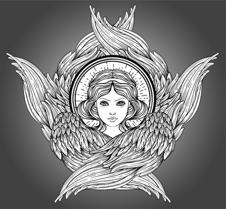 Seraph, six winged Angel. Isolated hand drawn vector illustration. Highest rank in Christian angelology. Trendy Vintage style element. Spirituality, occultism, alchemy, magic, love. Coloring book.  イラスト・ベクター素材