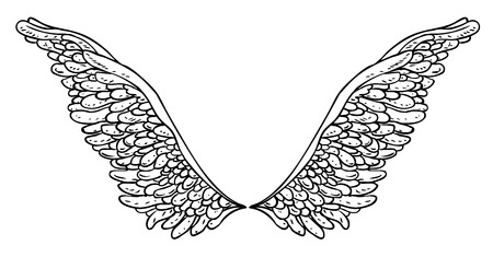 Angels wings. Ornamental baroque style element. Vector illustration. Tattoo template. Trendy hand drawn antique symbol collection. Vintage design elements.