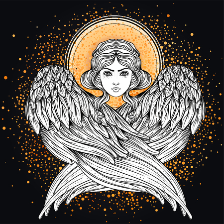 Sirin, Alkonost, Gamayun mythological creature of Russian legends. Angel girl with wings. Isolated hand drawn vector illustration. Trendy Vintage style element. Spirituality, occultism, alchemy, magic Ilustração