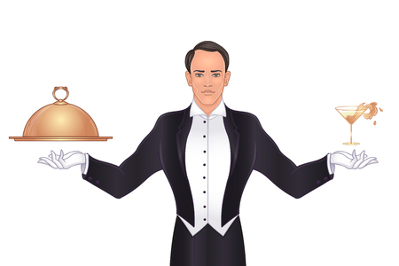 Elegant vintage waiter standing  with tray and metal cloche lid cover. the concept of the best service and suggestions. Art deco style.