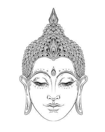 Boeddha gezicht geïsoleerd op wit. Esoterische vintage vectorillustratie. Indiaas, boeddhisme, spirituele kunst. Hippie tattoo, spiritualiteit, Thaise god, yoga zen Boek kleurplaten voor volwassenen.