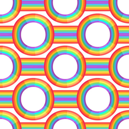 Rainbow background.  Retro seamless pattern the 50s and 60s inspired. Seamless abstract Vintage backdrop in sixties style. Vector illustration