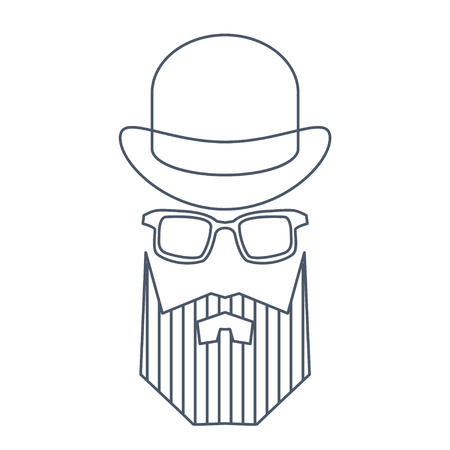 Simple style portrait of hipster man in hat. Barber shop character concept.