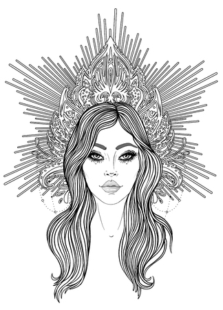 Madonna, Lady of Sorrow. Devotion to the Immaculate Heart of Blessed Virgin Mary, Queen of Heaven. Vector illustration isolated on white. Coloring book for adults. Tattoo design. Illustration