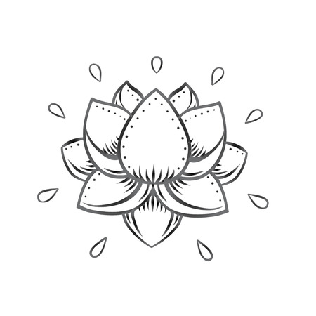 Vector ornamental Lotus flower, ethnic art, patterned Indian paisley. Hand drawn illustration. Invitation element. Tattoo, astrology, alchemy, boho and magic symbol. Black linework isolated on white.