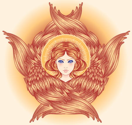 Seraph, six winged Angel. Isolated hand drawn vector illustration. Highest rank in Christian angelology. Trendy Vintage style element. Spirituality, occultism, alchemy, magic, love. Golden Halo.