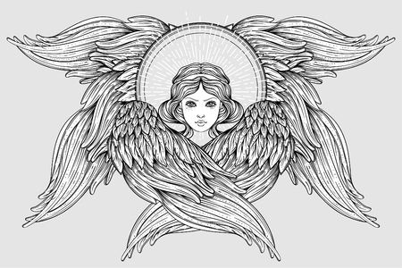 Serafín, Ángel de seis alas. Ilustración de vector dibujado a mano aislado. Rango más alto en angelología cristiana. Elemento de estilo vintage de moda. Espiritualidad, ocultismo, alquimia, magia, amor. Libro de colorear.