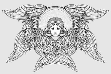 Seraph, sechsflügeliger Engel. Isolierte handgezeichnete Vektor-Illustration. Höchster Rang in der christlichen Angelologie. Trendiges Vintage-Stilelement. Spiritualität, Okkultismus, Alchemie, Magie, Liebe. Malbuch.