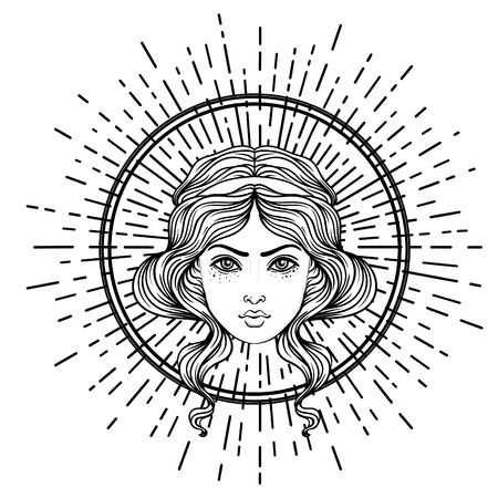 Angels head with halo. Isolated hand drawn vector illustration. Trendy Vintage style element. Spirituality, occultism, alchemy, magic, love. Coloring book.