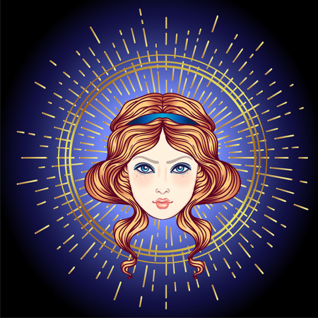 Angels head with golden halo. Isolated hand drawn vector illustration. Trendy Vintage style element. Spirituality, occultism, alchemy, magic, love.
