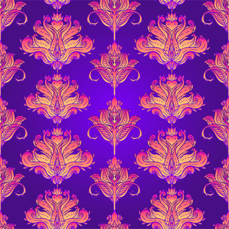 Floral paisley inspired Indian vector colorful ornate seamless pattern. Decorative style retro background, ornate design with repetition. Heraldic floral texture. Illustration