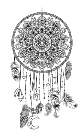 Hand drawn Native American Indian talisman dreamcatcher with feathers and moon. Vector hipster illustration isolated on white. Ethnic design, boho chic, tribal symbol. Coloring book for adults. Illustration
