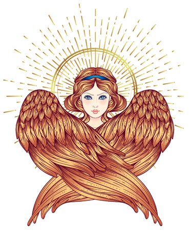 Sirin, Alkonost, Gamayun mythological creature of Russian legends. Angel girl with wings. Isolated hand drawn vector illustration. Trendy Vintage style element. Spirituality, occultism, alchemy, magic Çizim
