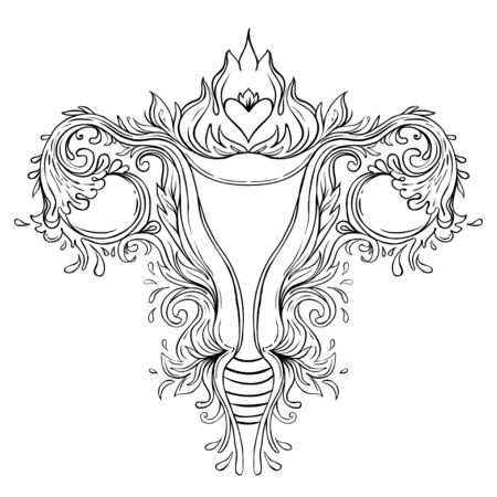 Decorative drawing of female reproductive system with flowers. Çizim