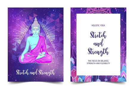 Stretch and Strenghth. Yoga card design. Colorful template for spiritual retreat or yoga studio. Ornamental business cards, oriental pattern. Vector illustration