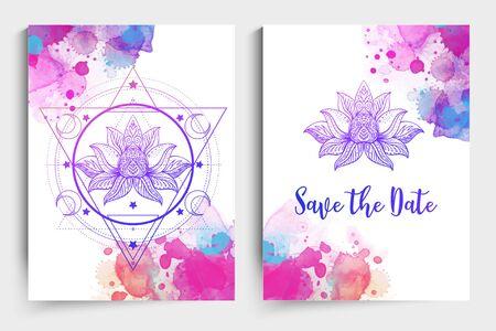 Yoga card design. Colorful template for spiritual retreat or yoga studio