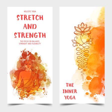 Yoga card design. Colorful template for spiritual retreat or yoga studio.